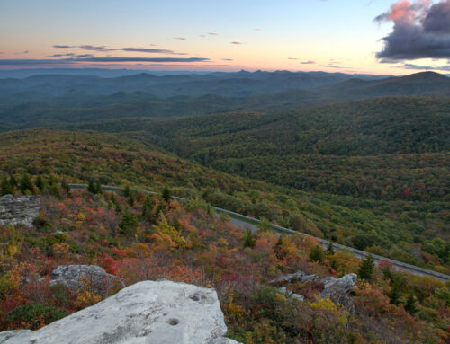 Sunset and Fall color from Tanawha Trail